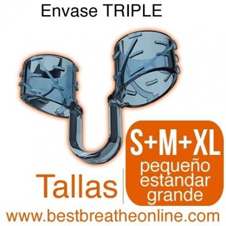 Dilatador Nasal Best Breathe® Tallas S + M + XL, antironquidos y para aumentar rendimiento deportivo, envase de tres unidades